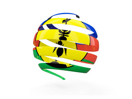 Flag of new caledonia, round icon isolated on white. 3D illustration