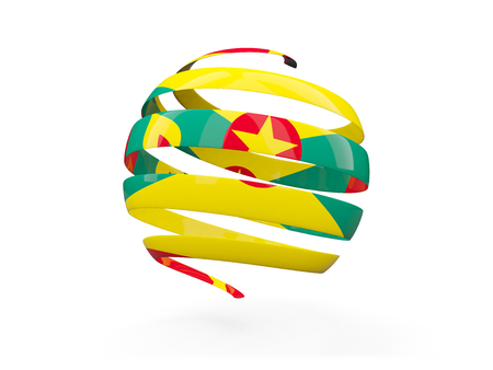 Flag of grenada, round icon isolated on white. 3D illustration