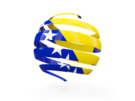 Flag of bosnia and herzegovina, round icon isolated on white. 3D illustration