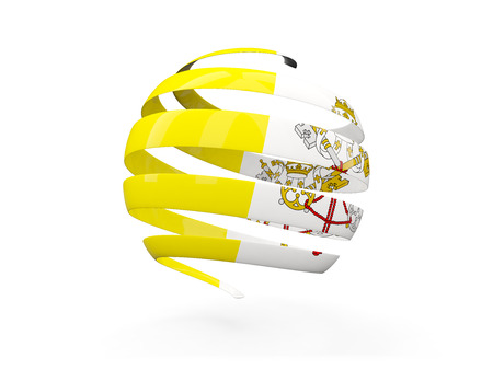 vatican city: Flag of vatican city, round icon isolated on white. 3D illustration