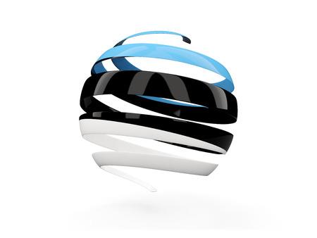 Flag of estonia, round icon isolated on white. 3D illustration