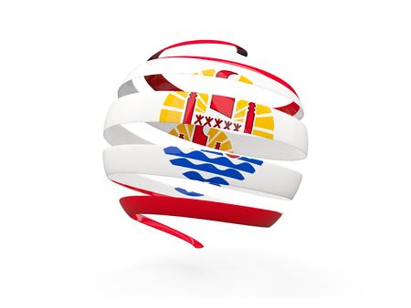flag french icon: Flag of french polynesia, round icon isolated on white. 3D illustration