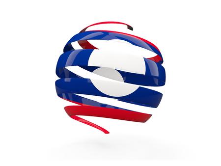 Flag of laos, round icon isolated on white. 3D illustration Stock Photo