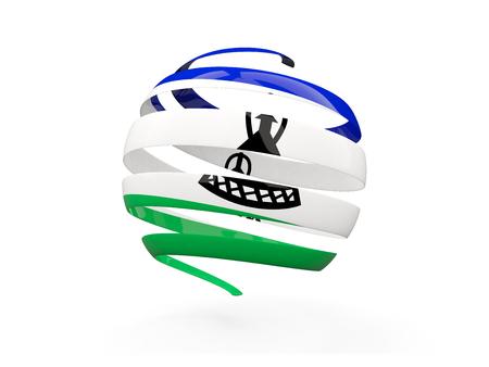 lesotho: Flag of lesotho, round icon isolated on white. 3D illustration