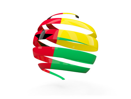 Flag of guinea bissau, round icon isolated on white. 3D illustration Stock Photo
