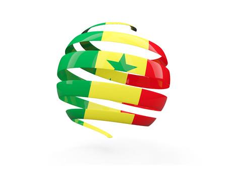 senegal: Flag of senegal, round icon isolated on white. 3D illustration