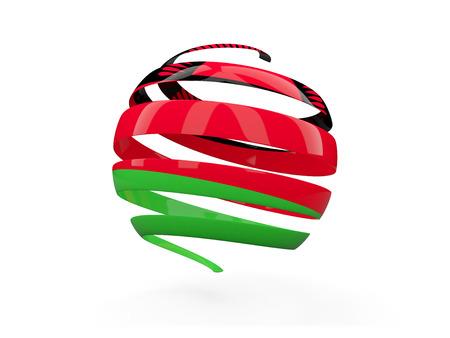 malawi: Flag of malawi, round icon isolated on white. 3D illustration Stock Photo