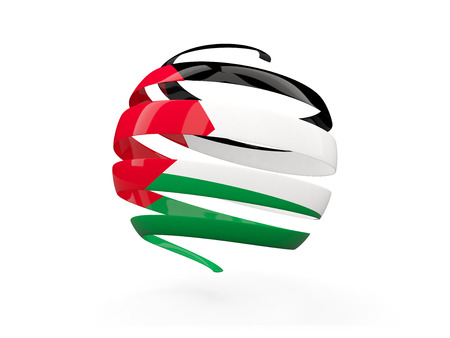 palestinian: Flag of palestinian territory, round icon isolated on white. 3D illustration