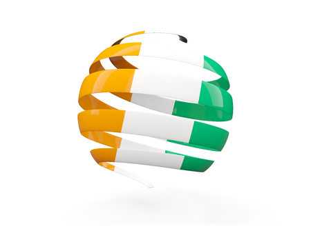 Flag of cote d Ivoire, round icon isolated on white. 3D illustration