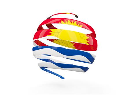 Flag of kiribati, round icon isolated on white. 3D illustration