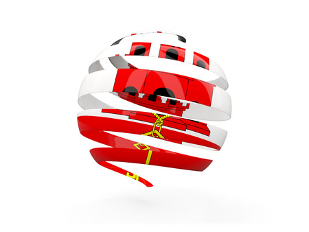 Flag of gibraltar, round icon isolated on white. 3D illustration