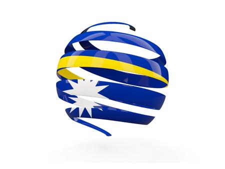 nauru: Flag of nauru, round icon isolated on white. 3D illustration