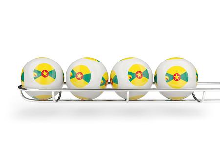 Flag of grenada on lottery balls. 3D illustration