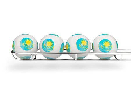 kazakhstan: Flag of kazakhstan on lottery balls. 3D illustration Stock Photo