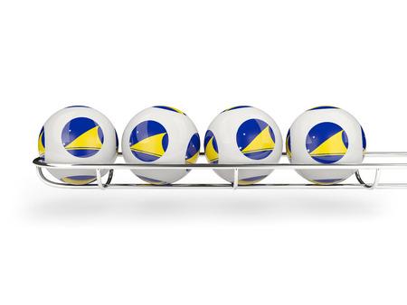 tokelau: Flag of tokelau on lottery balls. 3D illustration