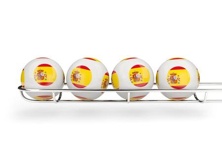 Flag of spain on lottery balls. 3D illustration Stock Photo