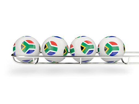luck wheel: Flag of south africa on lottery balls. 3D illustration