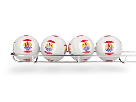 polynesia: Flag of french polynesia on lottery balls. 3D illustration