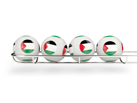 palestinian: Flag of palestinian territory on lottery balls. 3D illustration