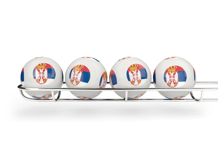 serbia: Flag of serbia on lottery balls. 3D illustration