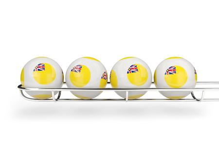 Flag of niue on lottery balls. 3D illustration