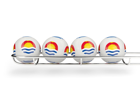Flag of kiribati on lottery balls. 3D illustration