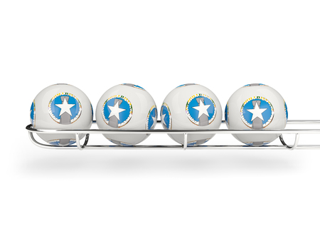 mariana: Flag of northern mariana islands on lottery balls. 3D illustration Stock Photo