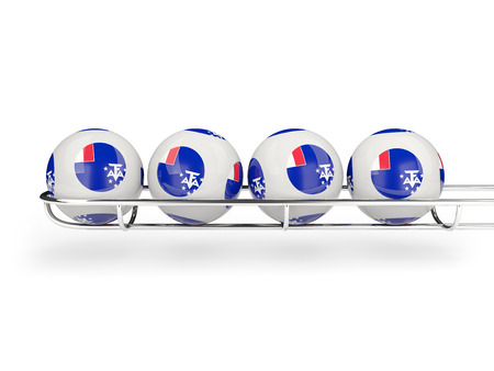 territories: Flag of french southern territories on lottery balls. 3D illustration Stock Photo