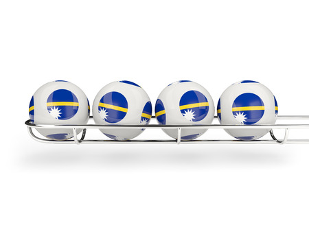 nauru: Flag of nauru on lottery balls. 3D illustration