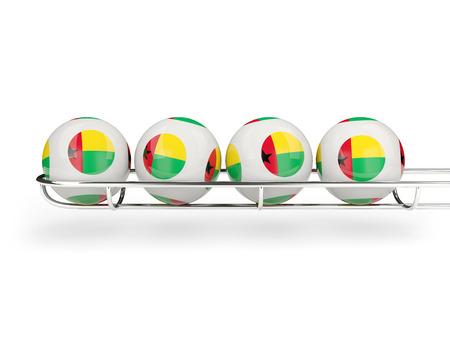 guinea bissau: Flag of guinea bissau on lottery balls. 3D illustration Stock Photo