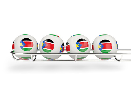 south sudan: Flag of south sudan on lottery balls. 3D illustration