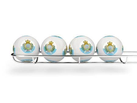san marino: Flag of san marino on lottery balls. 3D illustration