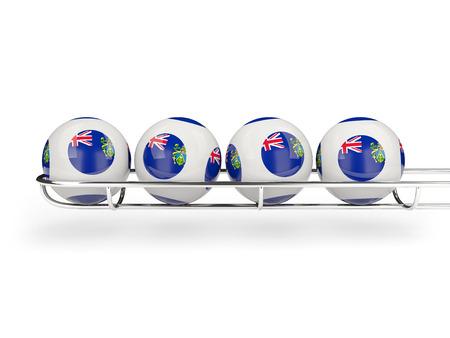 pitcairn: Flag of pitcairn islands on lottery balls. 3D illustration