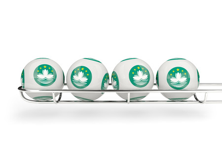 macao: Flag of macao on lottery balls. 3D illustration