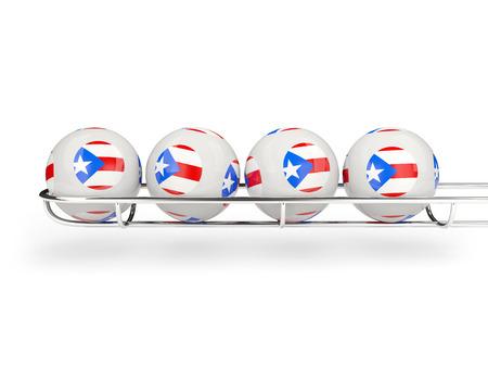 bandera de puerto rico: Flag of puerto rico on lottery balls. 3D illustration