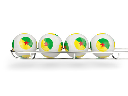 Flag of french guiana on lottery balls. 3D illustration