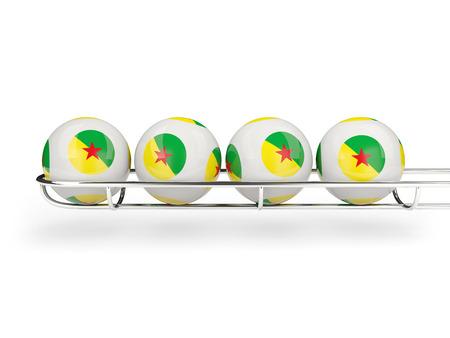 french guiana: Flag of french guiana on lottery balls. 3D illustration