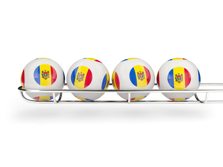 Flag of moldova on lottery balls. 3D illustration