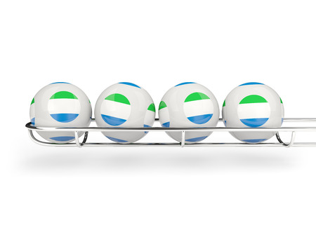 leone: Flag of sierra leone on lottery balls. 3D illustration Stock Photo