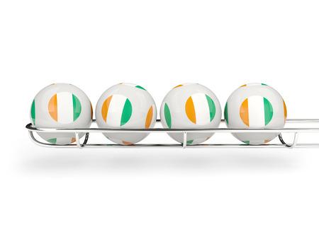 cote d ivoire: Flag of cote d Ivoire on lottery balls. 3D illustration Stock Photo