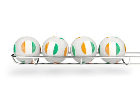 Flag of cote d Ivoire on lottery balls. 3D illustration Stock Photo