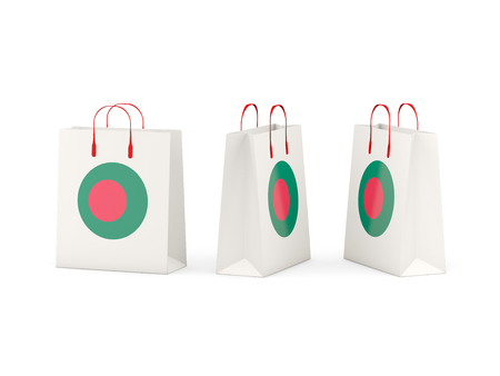 national flag bangladesh: Round flag of bangladesh on shopping bags. 3D illustration