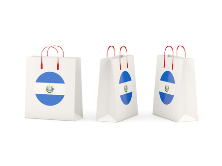 shoping bag: Round flag of el salvador on shopping bags. 3D illustration Stock Photo