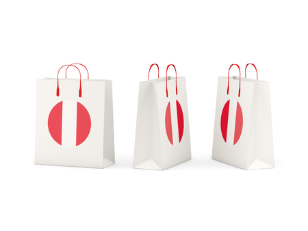 shoping bag: Round flag of peru on shopping bags. 3D illustration Stock Photo