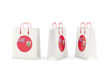 Round flag of bermuda on shopping bags. 3D illustration