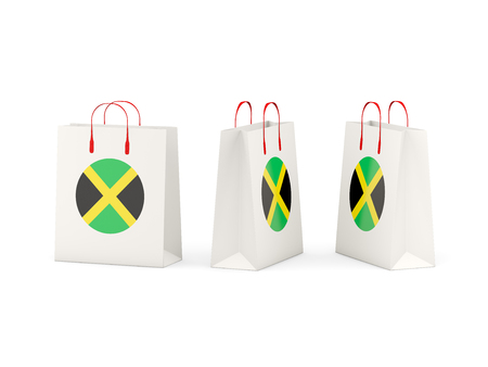 shoping bag: Round flag of jamaica on shopping bags. 3D illustration Stock Photo