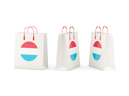 shoping bag: Round flag of luxembourg on shopping bags. 3D illustration Stock Photo