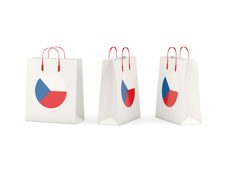 shoping: Round flag of czech republic on shopping bags. 3D illustration Stock Photo