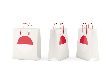 shoping bag: Round flag of monaco on shopping bags. 3D illustration Stock Photo