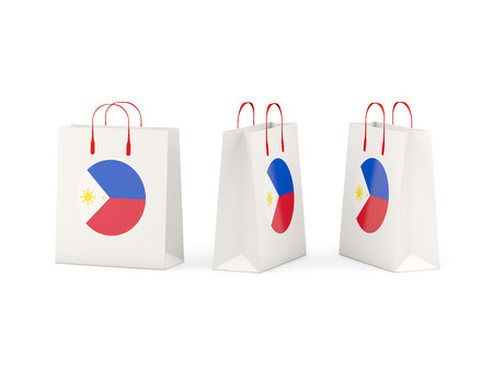 shoping bag: Round flag of philippines on shopping bags. 3D illustration